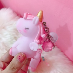 Lovely horse soft plastic doll key chain vocal unicorn bag accessory car pendant artifact for women pink handbag accessories