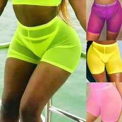 See Through Look Sports Shorts Elastic High Waist Yellow L