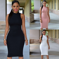 Women Casual Sleeveless Skinny Fashion Solid Color Dress m pink
