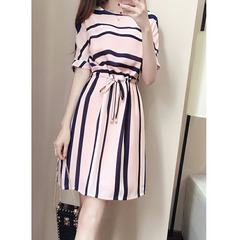 Women Casual Off Shoulder Striped Elegant Mini Dress s pink