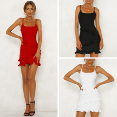 Women Casual Ruffles Sleeveless Solid Color Mini Dress s white