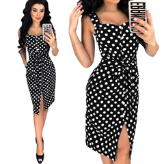 Black White Dots Deep V Neck Sleeveless Women Dress m black