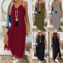 Women Casual Lace Patchwork Sleeveless Long Dress s green