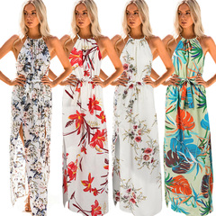 Women Fashion Floral Print Sleeveless Long Dress s Green