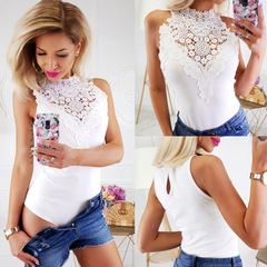 Sexy Bodysuit Off Shoulder White Lace Hollow Out Sleeveless Women Bodysuit White XL
