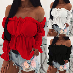Sexy Off Shoulder Ruffles Long Sleeve Women Crop Top Black S