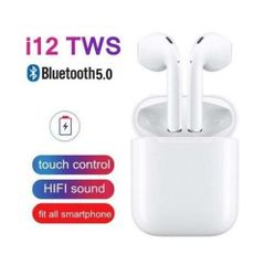 i12S TWS airpod Bluetooth Earphones Wireless Earbud iPhone Samsung Tecno Android Earpods white