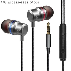 In-ear headphones, subwoofer with wheat line control Apple Android universal headphones silver