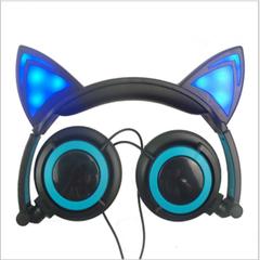 Head-mounted luminescent foldable mobile phone music headset Black + blue