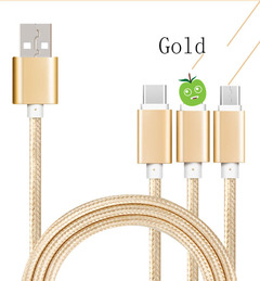 Three-in-one metal nylon data cable for Android mobile phone iPhone Huawei gold 120.0 cm * 0.3 cm * 3.0 cm