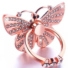 Rose gold Butterfly diamond Peacock mobile phone metal ring buckle bracket ring bracket lazy bracket rose gold 1.4x1.4inch