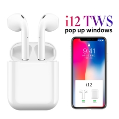 i12 Bluetooth headset 5.0 touch pop-up window automatic boot wireless motion support siri tws i12 white 8.0 cm * 8.0 cm * 5.5 cm