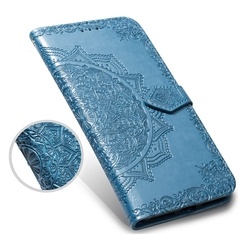 Suitable for Samsung a30 mobile phone case Multi-function flip cover multi-card Samsung blue 18.0*8.0*1.5cm