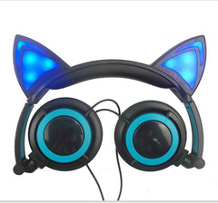 Cute Foldable Cat Ear Wired Headphones, Gaming Learning Over-Ear  Earphones with Flashing LED Light Black Blue