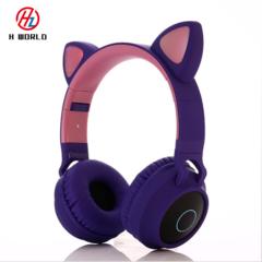 Bluetooth 5.0 Foldable Cat Ear On-Ear Headphones Gaming Handsfree Headset Earphone LED Light Music Purple