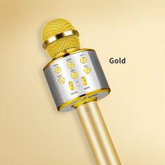 New Fashion USB wireless WS 858 Microphone KTV Karaoke Handheld Mic Speaker for smartphone Gold build-in battery WS858