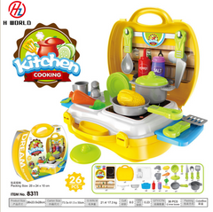 Kids Childrens 26 Pcs Role Play Kitchen Cooking Plate Toy Bowl Set Kit Gift Toys Hard Carry Case Kitchen one