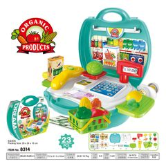 Kids Childrens 23 Pcs Role Play Organ Product Cashier Toy Market Set Kit Gift Toys Hard Carry Case Supermarket one