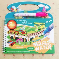 MAGIC PAINTING COLOURING ART BOOKS FOR CHILDREN 4 PAGES NO MESS JUST USE WATER - REUSABLE ! Vehicle one