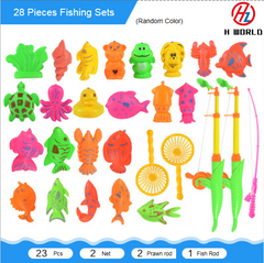 HW 28 pieces Bath Toy Fishing Fish Model Magnetic Bathtub Set Gift for Baby Child one 28 Pcs