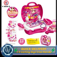 HW Kids Childrens 22 Pcs Role Play Nurse Stethophone Needles Set Kit Gift Toys Hard Carry Case Nurse one size