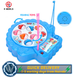 HW Baby Educational Toys Fish Musical Magnetic Fishing Toy Set Fish Game Great Gifts For Childen blue one