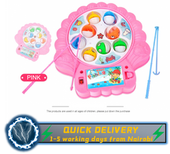 HW Baby Educational Toys Fish Musical Magnetic Fishing Toy Set Fish Game Great Gifts For Childen pink one