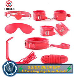 HW 7pcs/set-Adult-Sex-SM-Toys-Handcuffs-Cuffs-Strap-Whip-Rope-Neck-Bandage-Sexy-SMs red sm
