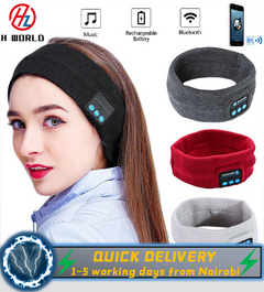 HW Bluetooth Accessories Music Headband Knits Running Sleeping Headwear Headphone Speaker Black one size