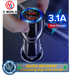 HW 18W 3.1A Car Charger Dual USB Fast Charging QC Phone Charger Adapter For IOS & Android Black