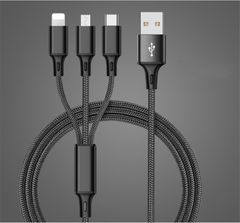 HW 3 in 1 USB Cable For iPhone Samsung Xiaomi Multi Fast Charge Type Cable Cord Black 5 in 1