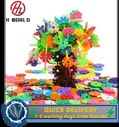 HW 200Pcs/Pack Snowflake Shape Colorful Building Blocks ABS Kids Educational Toy Multi 200 Pcs