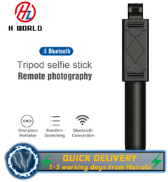 HW 3 in 1 Wireless Bluetooth Selfie Stick Foldable Expandable Remote Control Phone Charms Black 70cm