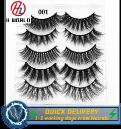 HW 5 Pairs 3D False Eyelashes Eyelash Wispy Lashes Handamde Variety Extension Natural Makeup Tool Mixed 5 Pairs