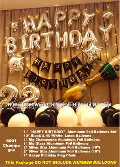 HW Birthday Party Decorations Various Themes Style Sets for Men Women Boys Grils, with Balloon Decor Champagne one-size