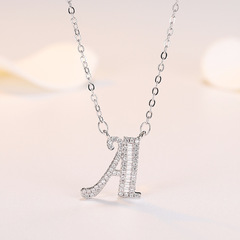 SJstudio INS Pinterest 26 Letter Silver Necklaces Girlfriend GF Couple Birthday Gift For Women Letter A Free Size