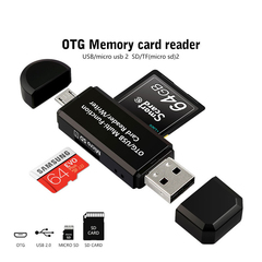 3 In 1 OTG/USB Card Reader TF/SD memory card Reader for samsung Huawei phones Computer Extension black micro usb otg unlimited OTG Card Reader