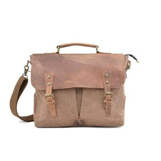 "Shoulder Bag Canvas Messenger Bags For Men 15.6"" Laptop portable Full Grain Leather Trim Coffee"
