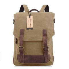 Backpack Canvas Leather School Travel Backpack For Men Rucksack Laptop 2 Way to Carry Khaki 14 inch