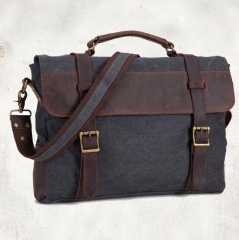 Shoulder Bag Vintage Canvas Leather Messenger Bag Laptop For Men's Portable Briefcase Bags Grey Mudium(14