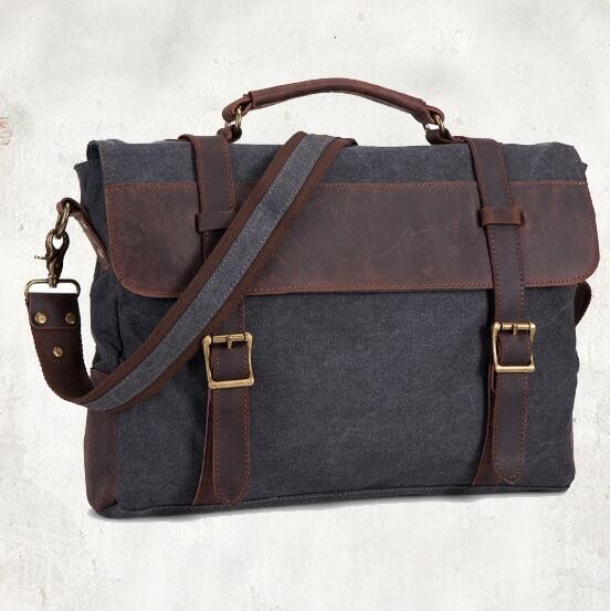 Shoulder Bag Vintage Canvas Leather Messenger Bag Laptop For Men's Portable Briefcase Bags Grey Mudium(14