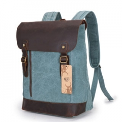 Guaranteed 100% Genuine Leather Canvas Backpack Shoulder Bag Leisure Backpacks Travel Shopping Bags Blue One size
