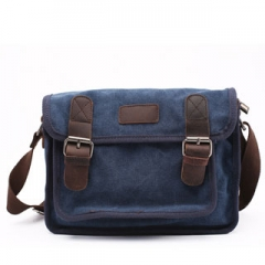Messager Men'sleather Canvas Bags handbag Casual Travel Bolsa Masculina Men's Crossbody Shoulder Bag navy blue 14inch