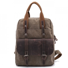 Backpack Fashionable Flap Pocket Genuine Leather Canvas Travel School Laptop Casual Choulder Bags Khaki 15.6 inch