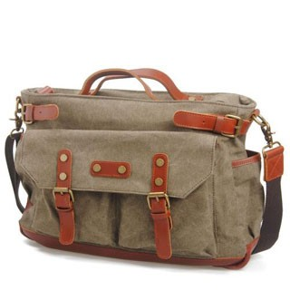 Briefcase/Attache Message Bags For Men Genuine Leather Single-Shoulder Canvas Travel Bags Coral Green 14inch