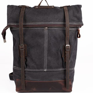 Backpack High Quality Vintage Fashion Casual Canvas Crazy Horse Leather  Women Men Backpack Dark Gray 15.6 359b7c1ea8342