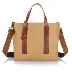 Handbags women shopping canvas leather fashion 14 inch Multifunctional handbags Khaki 14inch