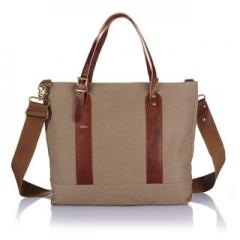 Handbags women shopping canvas leather fashion 14 inch Multifunctional handbags Coffee 14inch