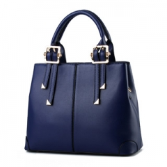 Hotsale new trend of female stereotypes sweet lady handbag simple elegant multicolor shoulder bag Navy Blue one size