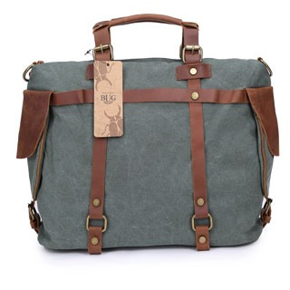 Tote Bag High Quality Vintage Fashion Casual Canvas Crazy Horse Leather Men  Travel Handbag Army Green dfc96a1174036